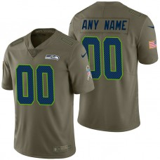 Seattle Seahawks Olive 2017 Salute to Service Limited Customized Jersey