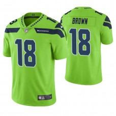 Seattle Seahawks #18 Jaron Brown Neon Green Vapor Untouchable Color Rush Limited Jersey
