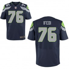 Seattle Seahawks #76 Germain Ifedi Navy Elite Jersey