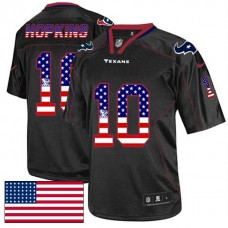 Houston Texans #10 DeAndre Hopkins Black USA Flag Fashion Jersey