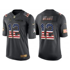 New England Patriots #12 Tom Brady Anthracite Salute to Service USA Flag Fashion Jersey