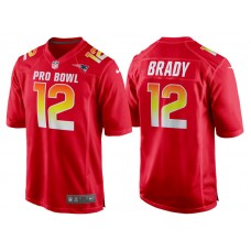 2018 Pro Bowl AFC New England Patriots #12 Tom Brady Red Game Jersey