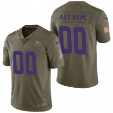 Minnesota Vikings Olive 2017 Salute to Service Limited Customized Jersey