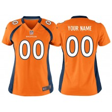 Women's Denver Broncos Orange Game Customized Jersey