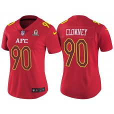 Women's AFC 2017 Pro Bowl Houston Texans #90 Jadeveon Clowney Red Game Jersey