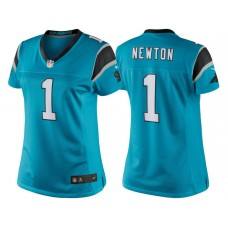 Women's Carolina Panthers #1 Cam Newton Blue Color Rush Limited Jersey