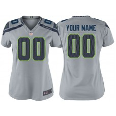 Women's Seattle Seahawks Gray Game Customized Jersey
