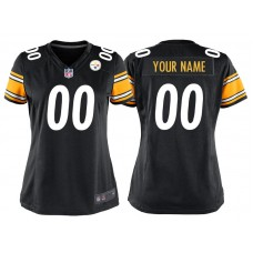 Women's Pittsburgh Steelers Black Game Customized Jersey