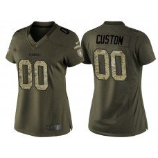 Women's Pittsburgh Steelers Olive Camo Salute to Service Veterans Day Customized Jersey