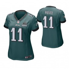 Women's Philadelphia Eagles #11 Carson Wentz Midnight Green Super Bowl LII Champions Patch Game Jersey