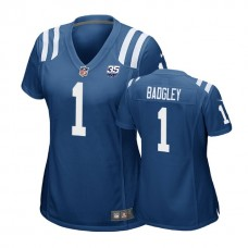 Women's Indianapolis Colts #1 Michael Badgley 35th Anniversary Game Royal Jersey