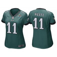 Women's Philadelphia Eagles #11 Carson Wentz Green Super Bowl LII Bound Game Jersey