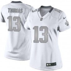 Women's New Orleans Saints #13 Michael Thomas White Platinum Limited Jersey
