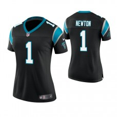 Women's Carolina Panthers #1 Cam Newton Black Game Jersey