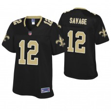 Women's New Orleans Saints #12 Tom Savage Black Pro Line Player Jersey