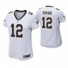 Women's New Orleans Saints #12 Tom Savage White Game Jersey