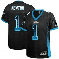 Women's Carolina Panthers #1 Cam Newton Black Drift Fashion Jersey