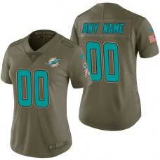 Women's Miami Dolphins Olive 2017 Salute to Service Limited Customized Jersey