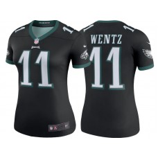 Women's Philadelphia Eagles #11 Carson Wentz Black Color Rush Legend Jersey