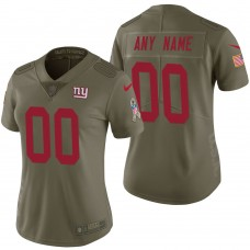 Women's New York Giants Olive 2017 Salute to Service Limited Customized Jersey