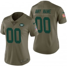 Women's New York Jets Olive 2017 Salute to Service Limited Customized Jersey