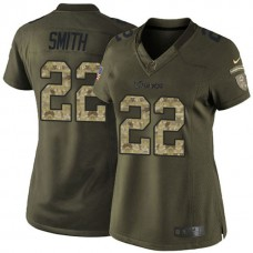 Women's Minnesota Vikings #22 Harrison Smith Green Salute To Service Jersey