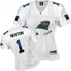 Women's Carolina Panthers #1 Cam Newton White Fem Fan Jersey