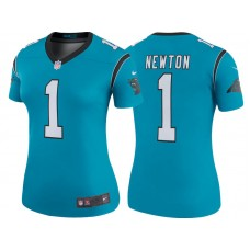 Women's Carolina Panthers #1 Cam Newton Blue Color Rush Legend Jersey
