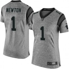 Women's Carolina Panthers #1 Cam Newton Gridiron Gray Limited Jersey