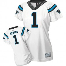Women's Carolina Panthers #1 Cam Newton White 2010 Field Flirt Fashion Jersey