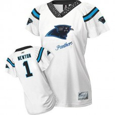 Women's Carolina Panthers #1 Cam Newton White 2011 Field Flirt Fashion Jersey
