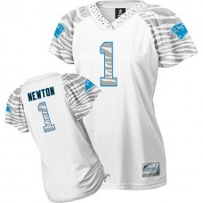 Women's Carolina Panthers #1 Cam Newton White Zebra Field Flirt Fashion Jersey