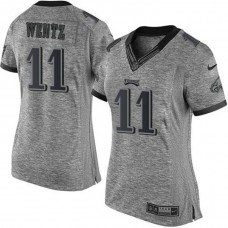 Women's Philadelphia Eagles #11 Carson Wentz Gray Gridiron Limited Jersey