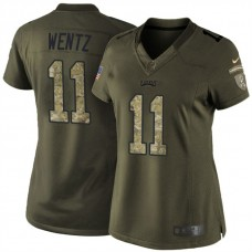 Women's Philadelphia Eagles #11 Carson Wentz Green Salute To Service Limited Jersey