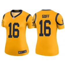Women's Los Angeles Rams #16 Jared Goff Gold Color Rush Legend Jersey