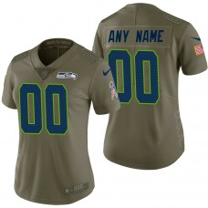 Women's Seattle Seahawks Olive 2017 Salute to Service Limited Customized Jersey