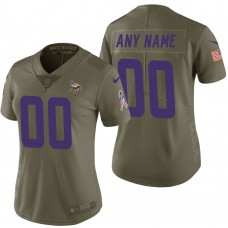Women's Minnesota Vikings Olive 2017 Salute to Service Limited Customized Jersey