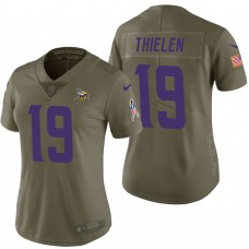 Women's Minnesota Vikings #19 Adam Thielen Olive 2017 Salute to Service Limited Jersey