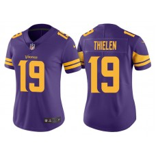 Women's Minnesota Vikings #19 Adam Thielen Purple Vapor Untouchable Color Rush Limited Jersey