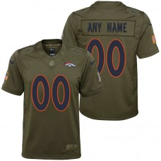 Youth Denver Broncos Olive 2017 Salute to Service Game Customized Jersey