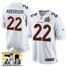 Youth Denver Broncos #22 C.j. Anderson White Super Bowl 50 Game Event Jersey