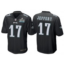 Youth Philadelphia Eagles #17 Alshon Jeffery Black Super Bowl LII Bound Game Jersey