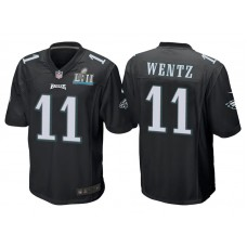 Youth Philadelphia Eagles #11 Carson Wentz Black Super Bowl LII Bound Game Jersey