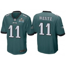 Youth Philadelphia Eagles #11 Carson Wentz Green Super Bowl LII Bound Game Jersey