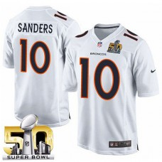 Youth Denver Broncos #10 Emmanuel Sanders White Super Bowl 50 Game Event Jersey