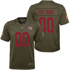 Youth New York Giants Olive 2017 Salute to Service Game Customized Jersey