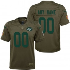 Youth New York Jets Olive 2017 Salute to Service Game Customized Jersey