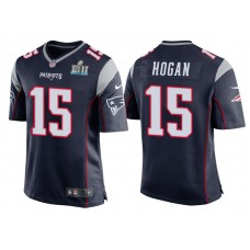Youth New England Patriots #15 Chris Hogan Navy Super Bowl LII Bound Game Jersey