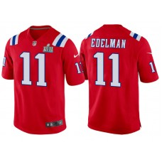 Youth New England Patriots #11 Julian Edelman Red Super Bowl LII Bound Game Jersey