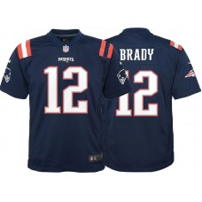 Youth New England Patriots #12 Tom Brady Navy Color Rush Game Jersey